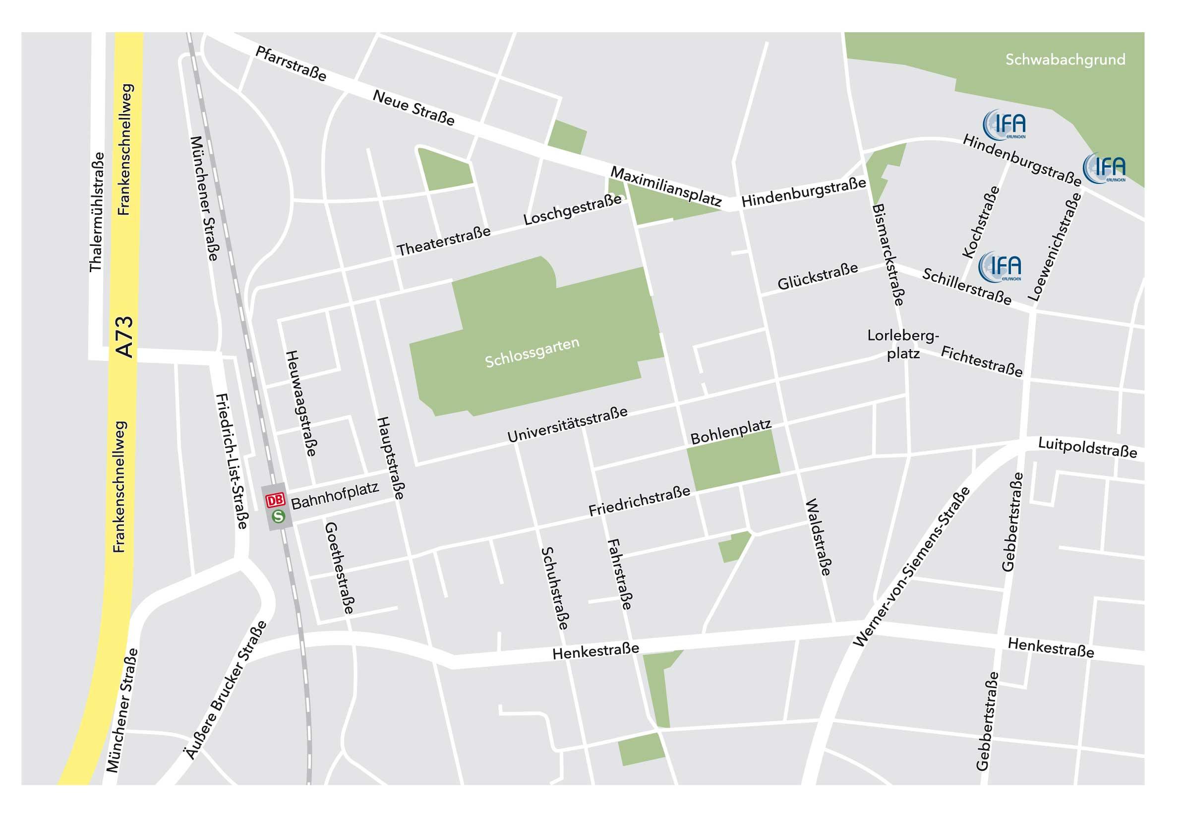 Lageplan mit den drei Gebäuden des IFA: Hindenburgstraße 42, Hindenburgstraße 49 und Schillerstraße 3