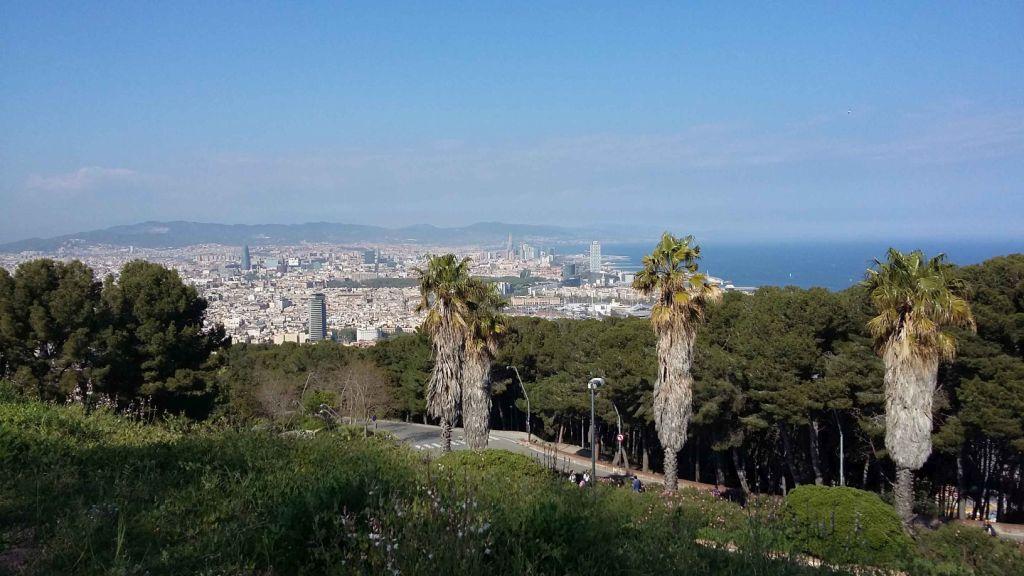 Blick über Barcelona, man sieht im Vordergrund Wald und Palmen, im Hintergrund Barcelona Stadt, dahinter die Berge und rechts das Meer an einem sonnigen Tag.