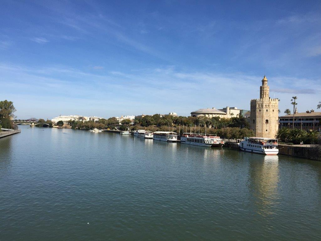 Blick auf den Torre del Oro in Sevilla