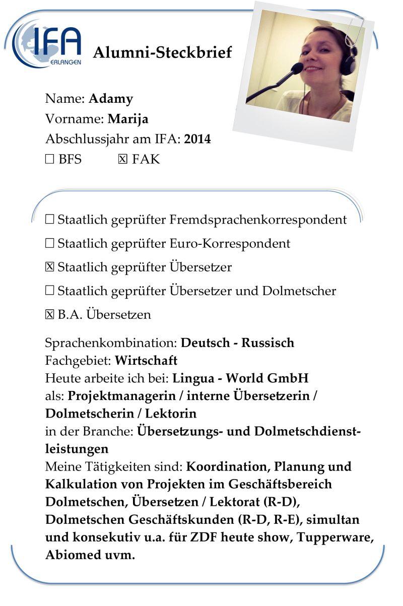 Alumni-Steckbrief der Absolventin Marija Adamy