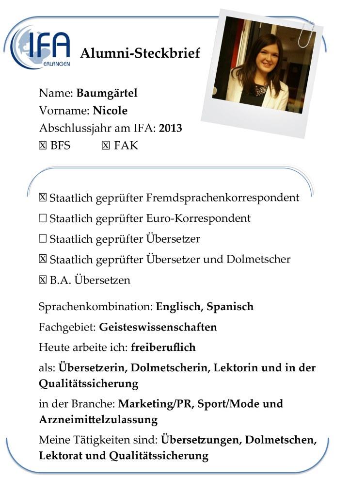 Alumni-Steckbrief der Absolventin Nicole Baumgärtel
