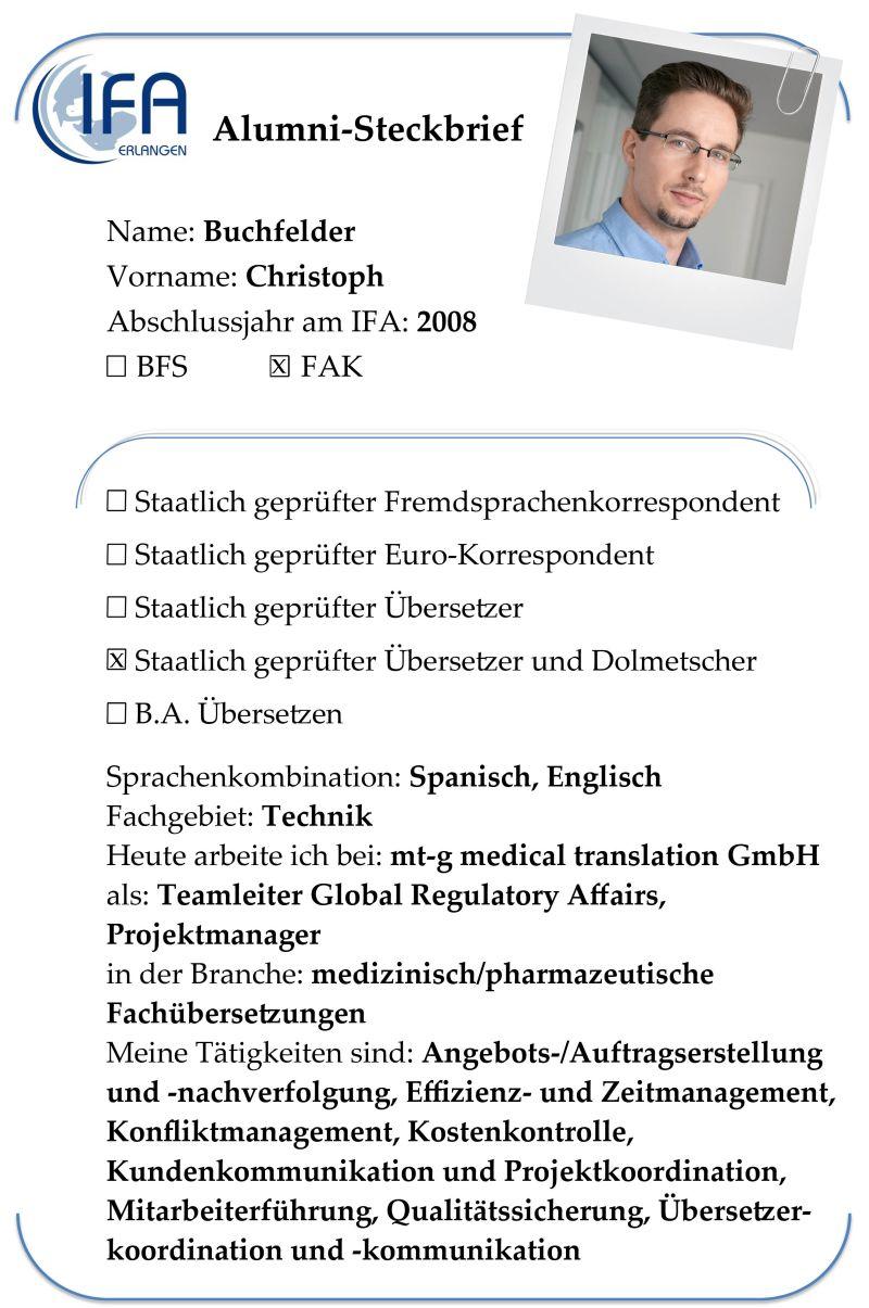 Alumni-Steckbrief des Absolventen Christoph Buchfelder