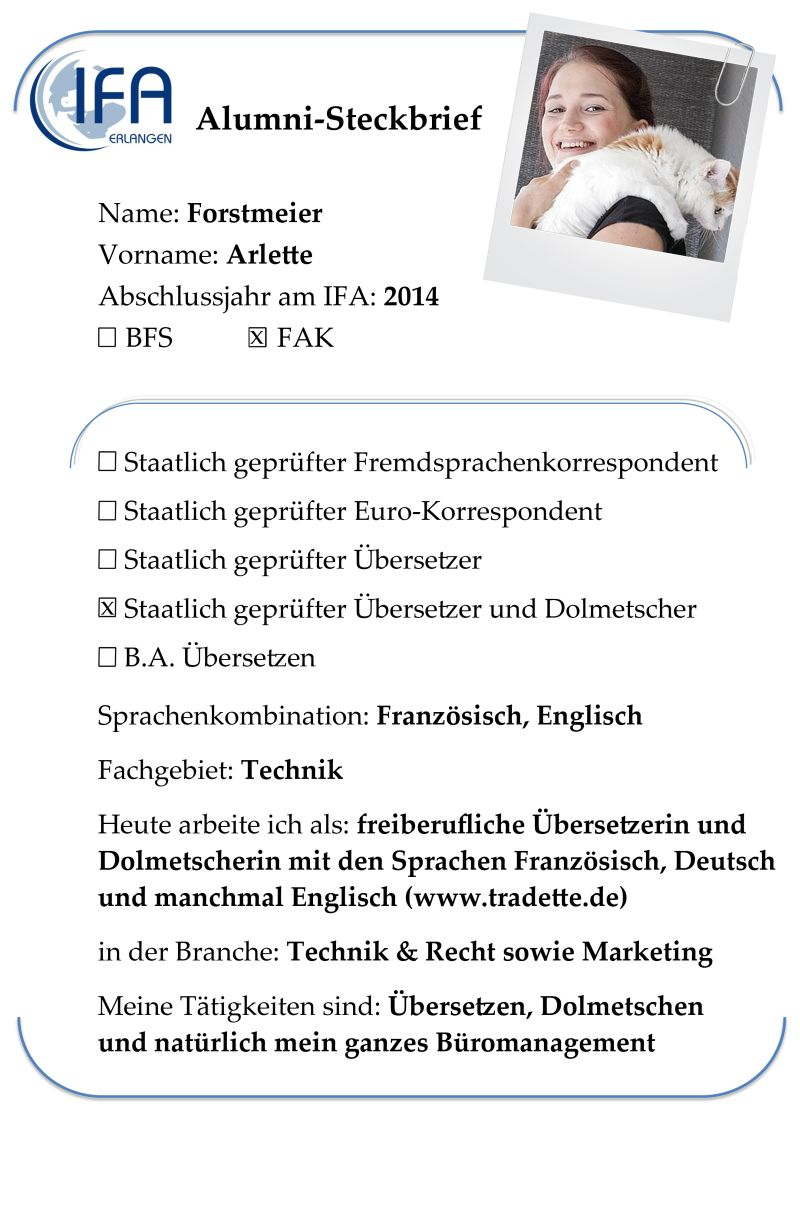 Alumni-Steckbrief der Absolventin Arlette Forstmeier