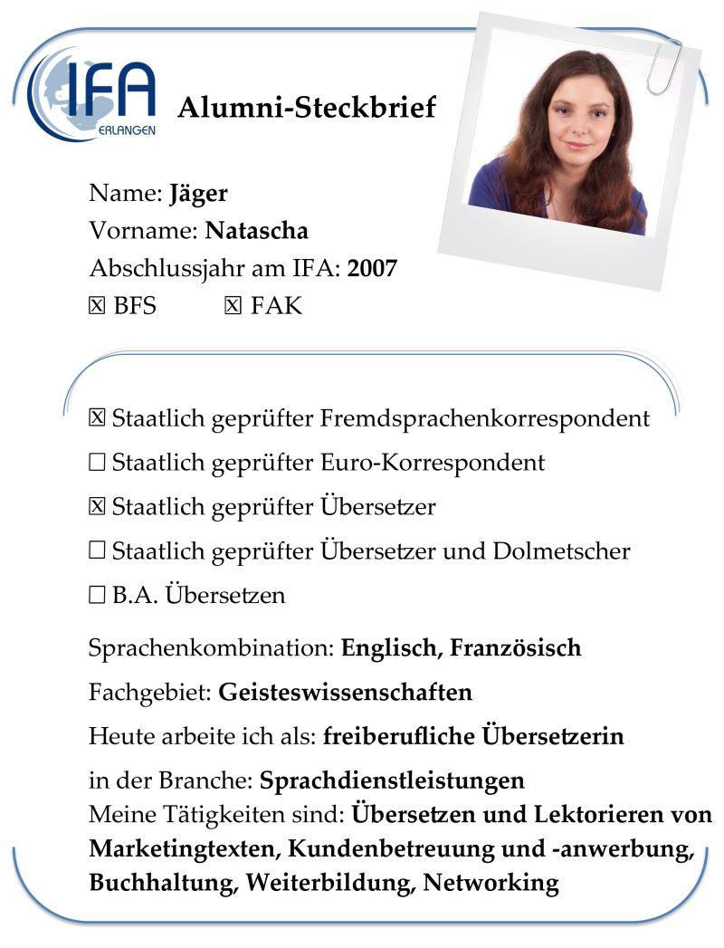 Alumni-Steckbrief der Absolventin Natascha Jäger