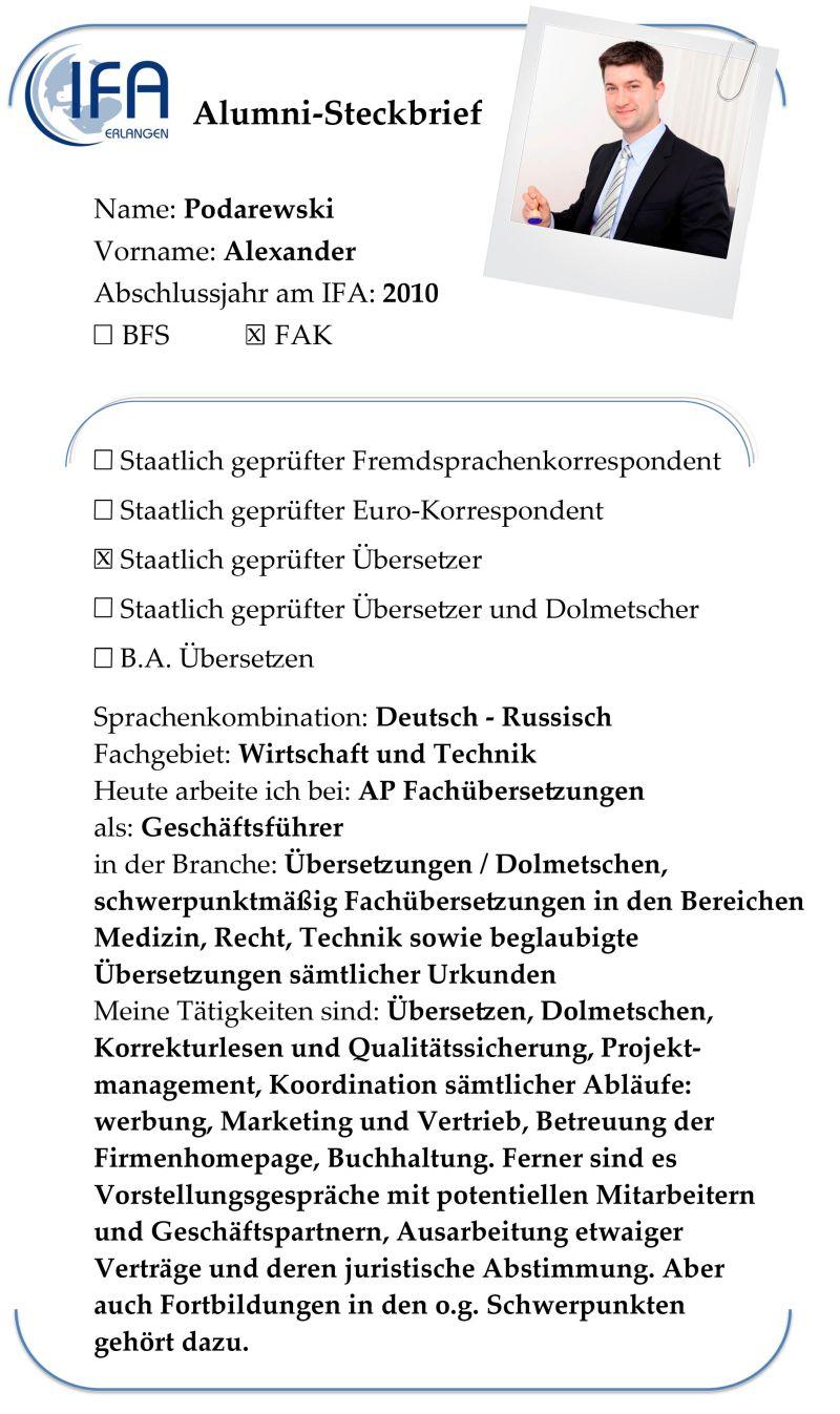 Alumni-Steckbrief des Absolventen Alexander Podarewski