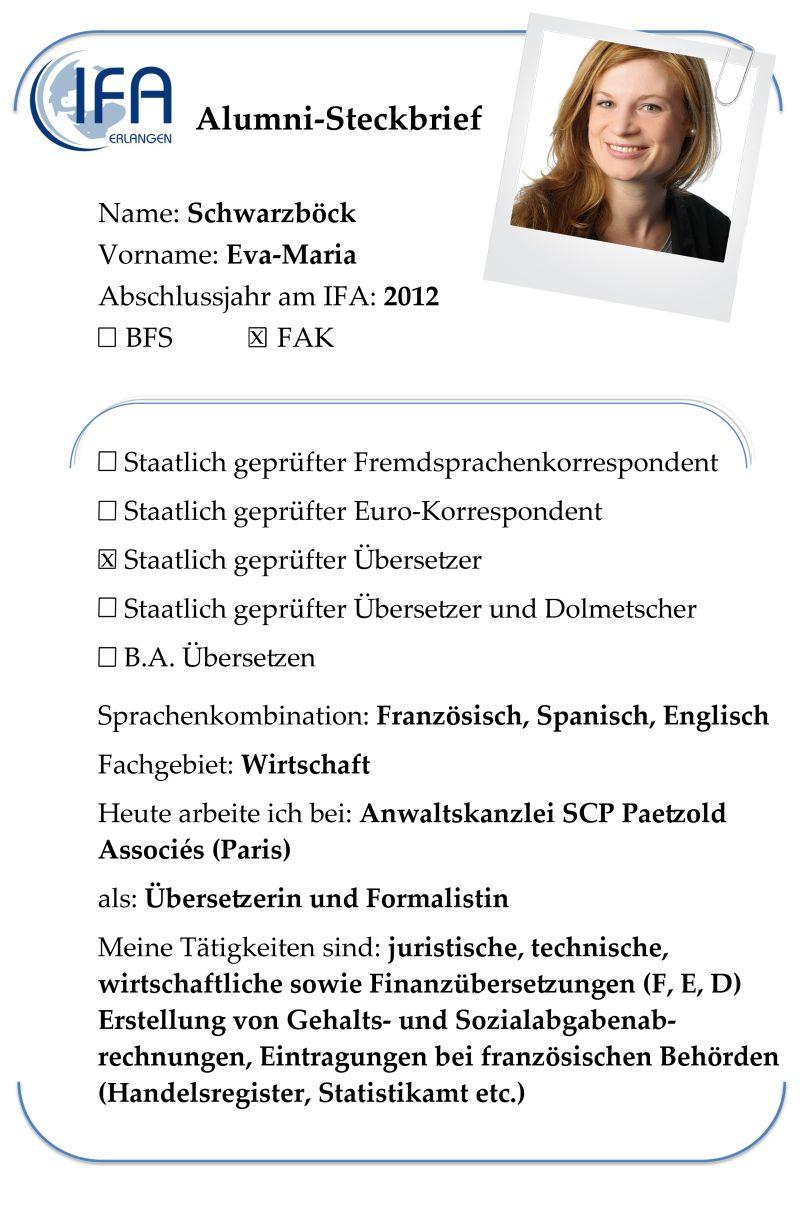 Alumni-Steckbrief der Absolventin Eva-Maria Schwarzböck