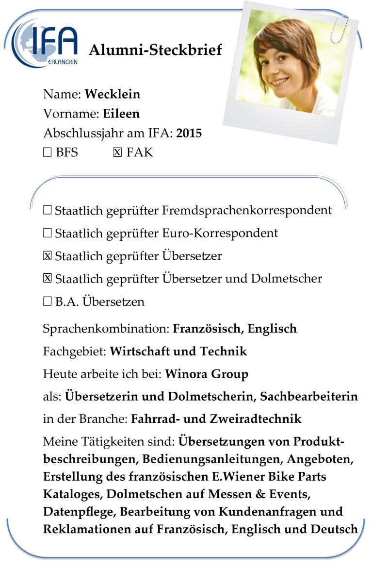 Alumni-Steckbrief der Absolventin Eileen Wecklein