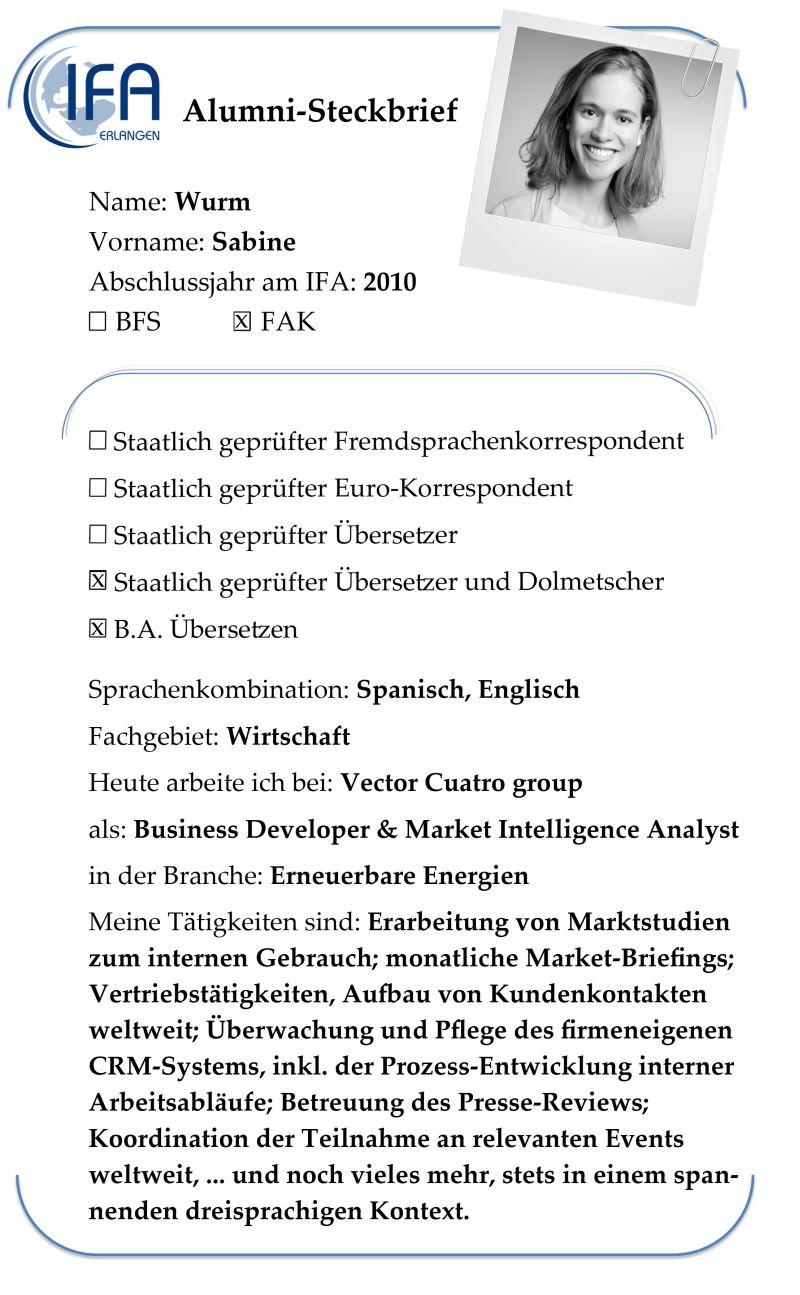 Alumni-Steckbrief der Absolventin Sabine Wurm