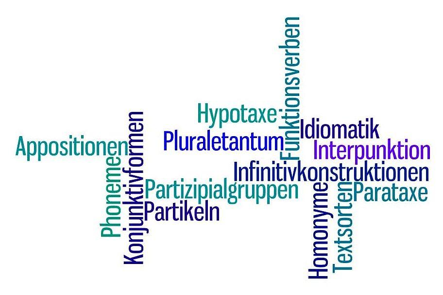 Wordle mit Fachbegriffen zur deutschen Sprache